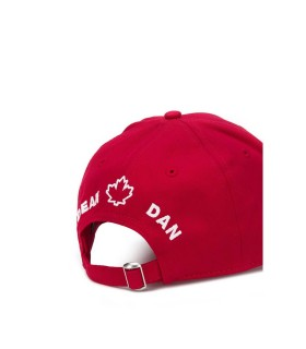 DSQUARED2 RED DOUBLE LOGO BASEBALL CAP