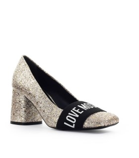 LOVE MOSCHINO GLITTER PLATINUM HALF HEELED PUMP