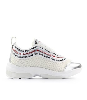 LOVE MOSCHINO WHITE SILVER RUNNING SNEAKER