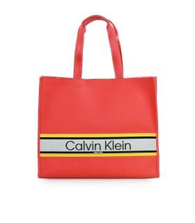 BORSA SHOPPING STRIPE GRANDE CORALLO CALVIN KLEIN