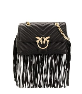 PINKO LOVE PUFF FRINGES BLACK CROSSBODY BAG