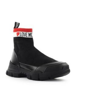 LOVE MOSCHINO BLACK SOCK-STYLE SNEAKER