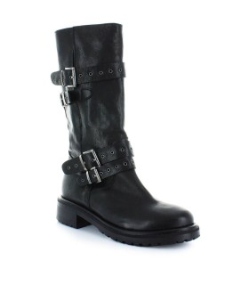 LEMARÉ BLACK LEATHER BIKER BOOTS