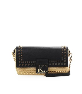 LA CARRIE SKYLAB BLACK RAFFIA SHOULDER BAG