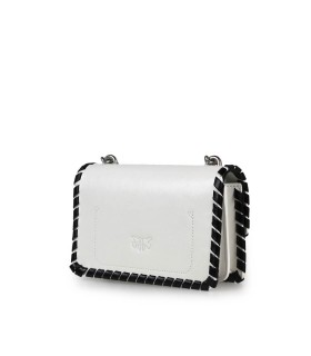 BORSA A TRACOLLA LOVE MINI TWIST BIANCO NERO PINKO