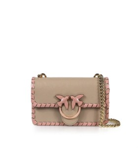 BOLSO BANDOLERA LOVE MINI TWIST CL BEIGE ROSA PINKO