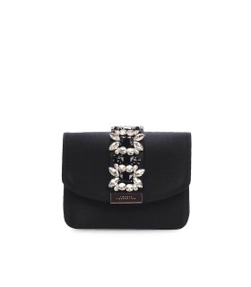 TWENTY FOURHAITCH DELIA BLACK SILK CLUTCH BAG