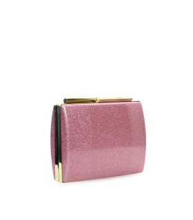 TWENTY FOURHAITCH PINK GLITTER NIDA GLOSS CLUTCH BAG