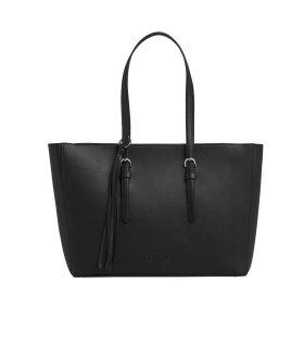 CALVIN KLEIN BLACK FRINGES SHOPPING BAG