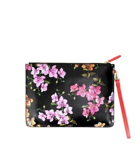 PINKO SPITTINIO BLACK LEATHER ENVELOPE WITH FLOWERS
