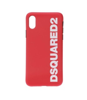 COVER IPHONE X LOGO ROSSO BIANCO DSQUARED2