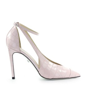 GREY MER BALI PINK CROCODILE PRINT PUMP