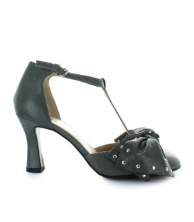 ETTORE LAMI GREY LEATHER PUMP WITH BOW