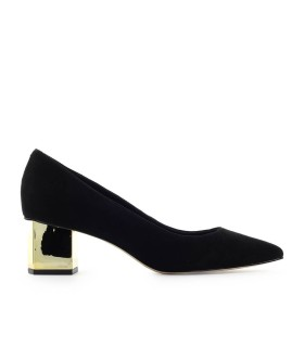 MICHAEL KORS PETRA BLACK SUÈDE HALF HEELED PUMP