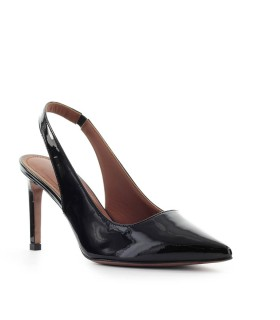 L'AUTRE CHOSE SCHWARZ LACKLEDER SLING BACK PUMPS