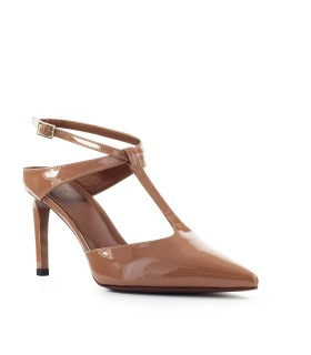 L'AUTRE CHOSE NUDE PATENT LEATHER SLING BACK PUMP
