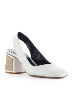 FIORI FRANCESI WHITE LEATHER SLINGBACK PUMP