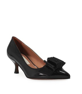 L'AUTRE CHOSE BLACK PATENT LEATHER COURT SHOES WITH BOW