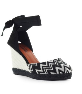CASTAÑER BY MISSONI CARINA BLACK AND WHITE WEDGE ESPADRILLES