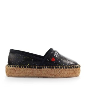 LOVE MOSCHINO BLACK NAPPPA LEATHER ESPADRILLES