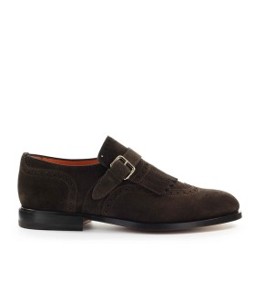 SANTONI DARK BROWN LOAFER WITH FRINGE