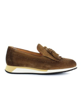 MOCASSINO SUEDE MARRONE CON NAPPINE SANTONI