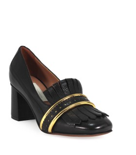 L'AUTRE CHOSE BLACK LEATHER HEELED MOCCASIN