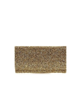 TWENTY FOURHAITCH ELY CRISTAL GOLDEN MICROSTRASS CLUTCH BAG
