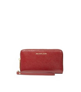 MICHAEL KORS JET SET LARGE PHONE CASE BRICK RED WALLET