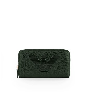 EMPORIO ARMANI DARK GREEN ZIP WALLET