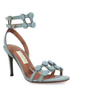 L'AUTRE CHOSE SKY GREY BUTTONS HEELED SANDAL