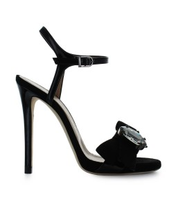 MARC ELLIS BLACK BOW HEELED SANDAL