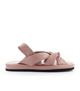 SANDALE PLATE BABE CUIR NAPPA ROSE NUE STRATEGIA