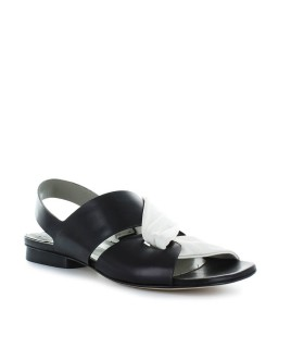 IXOS BLACK/WHITE LEATHER FLAT SANDAL