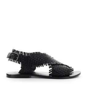 STRATEGIA BLACK BRAIDED FLAT SANDAL