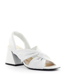 STRATEGIA LINDA WHITE NAPPA HALF-HEELED SANDAL