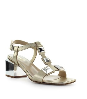 JEANNOT PLATINUM LEATHER MID-HEELED SANDAL