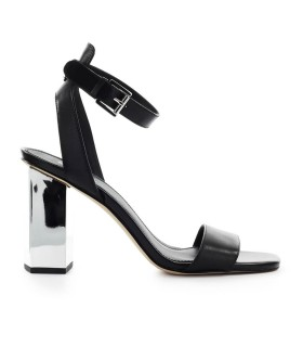 MICHAEL KORS PETRA BLACK LEATHER SANDAL