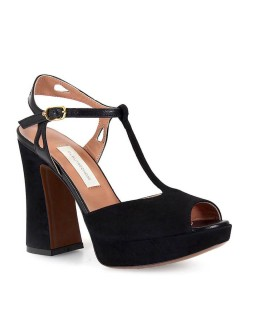 L'AUTRE CHOSE LEATHER AND SUEDE PLATFORM BLACK SANDALS