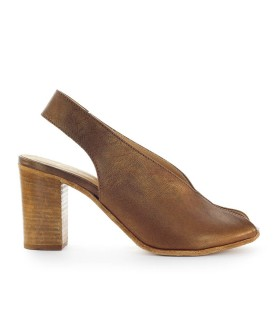 LEMARÉ LIGHT BROWN LEATHER OPEN TOE SANDAL