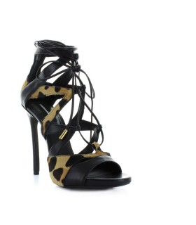 DSQUARED2 TIE ME UP ZWART ANIMALIER SANDAL