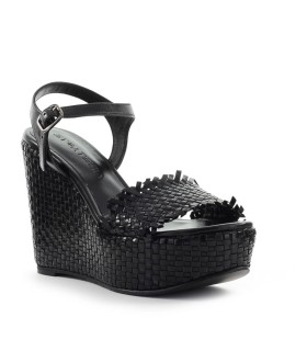 STRATEGIA BLACK BRAIDED WEDGE SANDAL