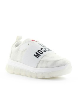 LOVE MOSCHINO WHITE MESH WITH LOGO SNEAKER