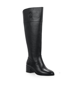 MICHAEL KORS DYLYN BLACK LEATHER HIGH BOOTS