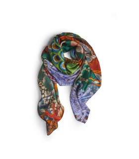 DSQUARED2 PEACOCK PRINT SILK STOLE