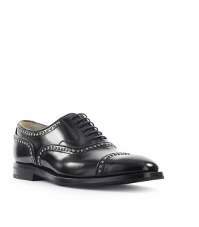 CHURCH'S POLISHED FUME BLACK ANNA MET OXFORD LACE-UP