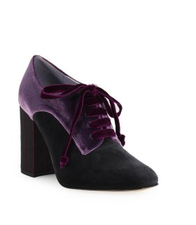 G DI G PURPLE VELVET LACE UP HEELED SHOES