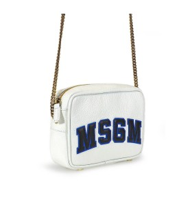 MSGM WHITE LEATHER CROSSBODY BAG