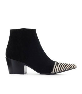 MARC ELLIS SUEDE WITH ZEBRA TIP ANKLE BOOT