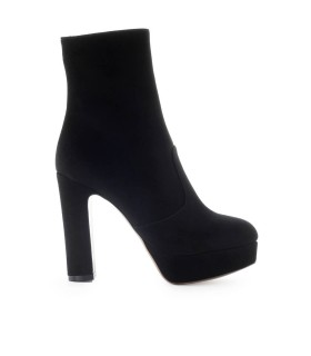 L'AUTRE CHOSE BLACK SUEDE HEELED ANKLE BOOT